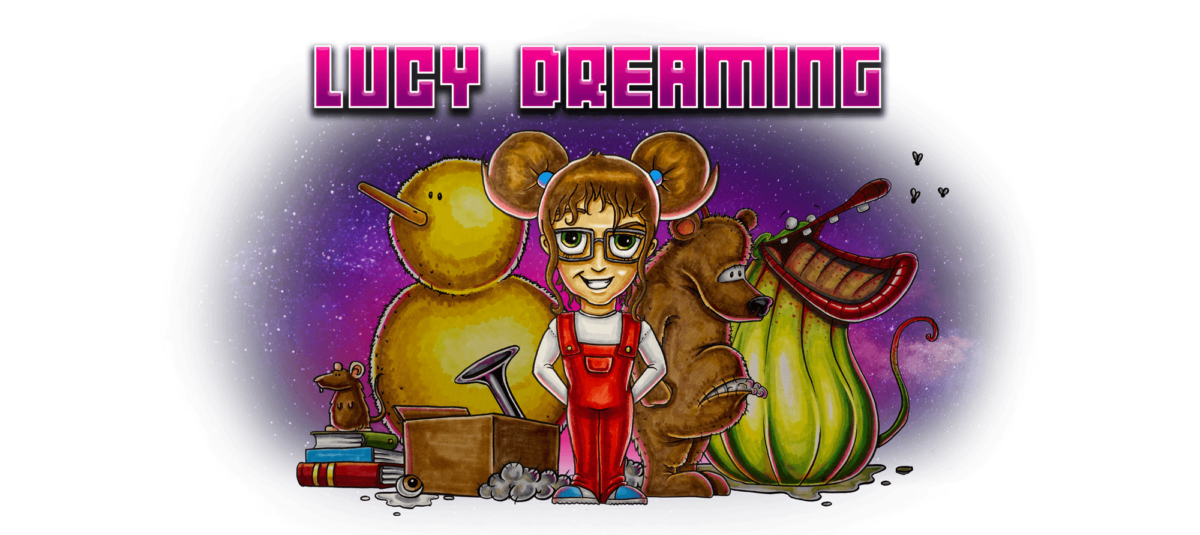 A cartoon of a young girl wearing red dungarees stands in front of a giant yellow duck, an overgrown toy bear and a large carnivorous plant. Behind them is a stary sky.